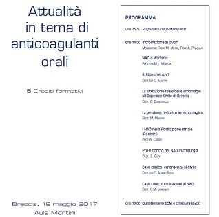ATTUALITA' IN TEMA DI ANTICOAGULANTI ORALI